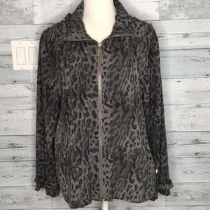 ZENERGY by CHICO'S LEOPARD PRINT HOODED JACKET
